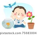 Kid Toddler Boy Explore Living Things Illustration 75683004