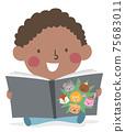 Kid Toddler Boy Learn Animals Story Illustration 75683011