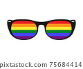 Vector illustration of sunglasses with LGBT gay rainbow lenses isolated on white background. Rainbow, LGBT pride, gay, human rights concept. 75684414