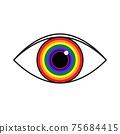 Vector illustration of rainbow colored eye. Flag of LGBT community inside eyeball. can be used for sticker, pin, greeting card, poster, patch, t-shirt prints. 75684415