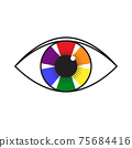 Vector illustration of rainbow colored eye. Flag of LGBT community inside eyeball. can be used for sticker, pin, greeting card, poster, patch, t-shirt prints. 75684416