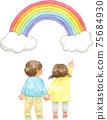 兒童指著彩虹 75684930
