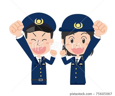 男性和女性警官膽量姿勢 75685067
