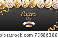 Easter day banners template easter eggs gold color with ribbon and daisies flower on black color background. Vector illustrations. 75686388