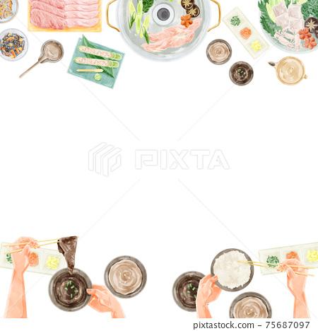 鍋黨餐風景水彩手寫插圖 75687097