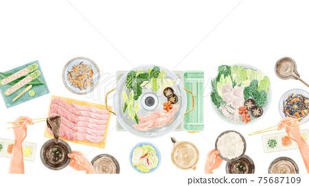 Shabu-shabu party meal scenery watercolor handwritten illustration 75687109