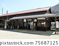 "JR Narai Station is the entrance to sightseeing in ""Narai-juku"". The station building is also nostalgic 75687125"