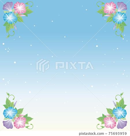 牽牛花夏天花藍天框架背景複製空間插圖素材 75693959