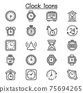 clock icon set in thin line style 75694265