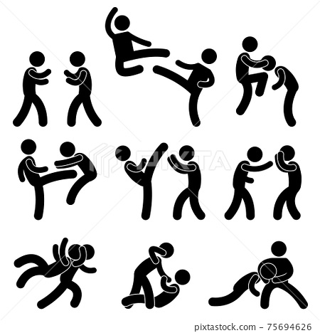 Fight Fighter Muay Thai Boxing Karate Taekwondo Wrestling. A set of pictogram about fighting and martial arts. 75694626