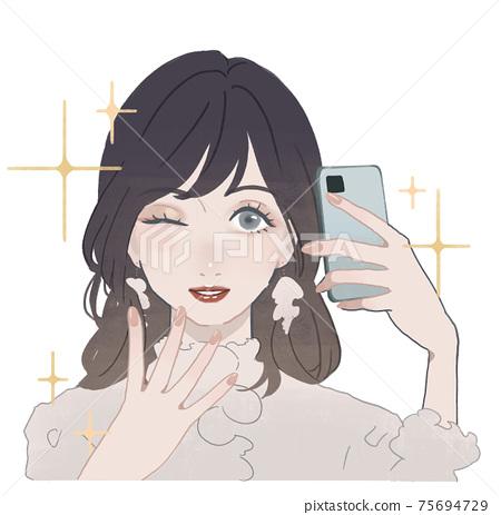 一個美麗的年輕女子,採取自拍照 75694729