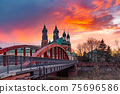 Poznan Cathedral at sunset, Poland 75696586
