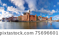 Panorama of Old Town and Motlawa in Gdansk, Poland 75696601