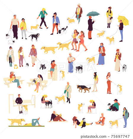 Set of many people walking with dogs. Men and women outdoors with pets 75697747