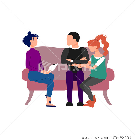 Couple having an appointment with therapist. Isolated on white background. Flat style stock vector illustration 75698459