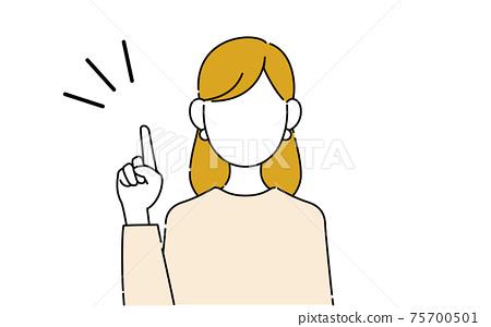 不露臉的姿勢插圖,職業女性的上半身,指向 75700501