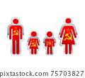 Glossy metal badge icon in man, woman and childrens shapes with USSR flag, infographic element on white 75703827