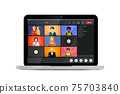 Screen of video conference, modern software for virtual meetings, remote work or lections run on laptop on white 75703840
