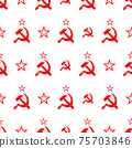 Red soviet sickle and hammer symbol on white, communist USSR pattern 75703846