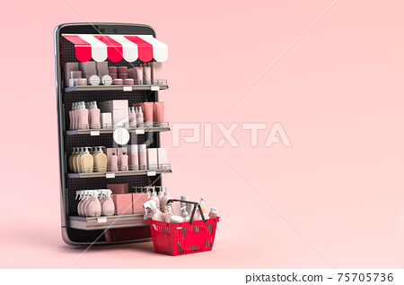 Cosmetics and beauty products buying online concept. Shopping basket with makeup products and mobile phone as shelf full of cosmetics on pink background. 75705736
