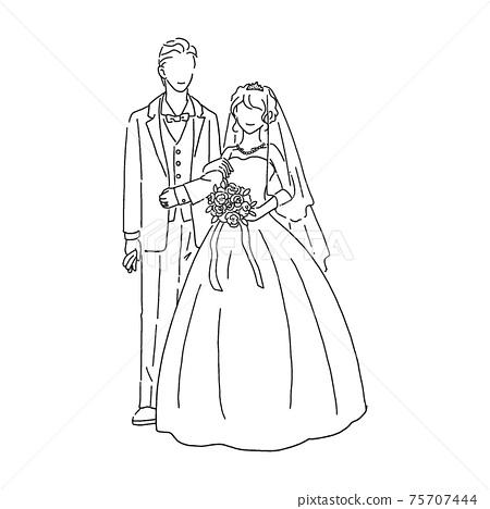 新娘和新郎手繪線藝術插圖 75707444