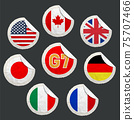 Emblems of countries g7 on a paper label 75707466