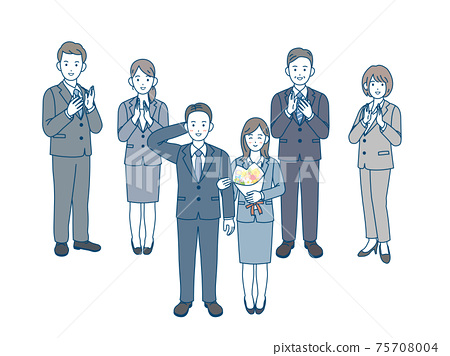 內部婚姻,離開公司,鼓掌,慶祝,上班族,西裝,男人和女人,全身插圖素材 75708004