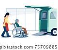 개호 (데이 서비스)에 다니는 휠체어 노인과 개호 직원의 벡터 일러스트 75709885