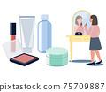 거울을 향해 화장을하는 여성과 기초 화장품과 메이크업 도구 벡터 일러스트 75709887