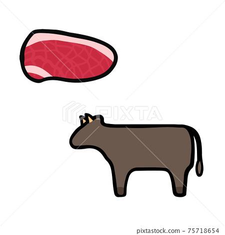 簡單可愛的牛肉和肉牛插圖集手寫風格 75718654