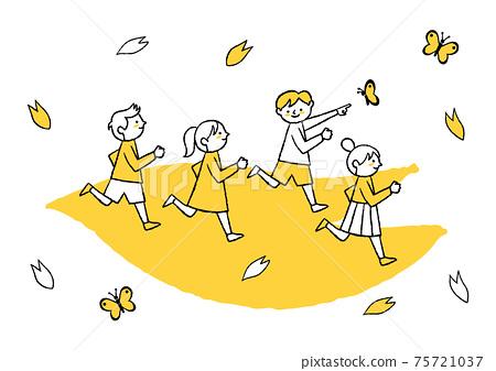 孩子們在櫻花的花瓣上奔跑 75721037