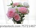 물방울이 붙어 선명하고 깨끗한 분홍색과 흰색 장미 꽃다발 75721467