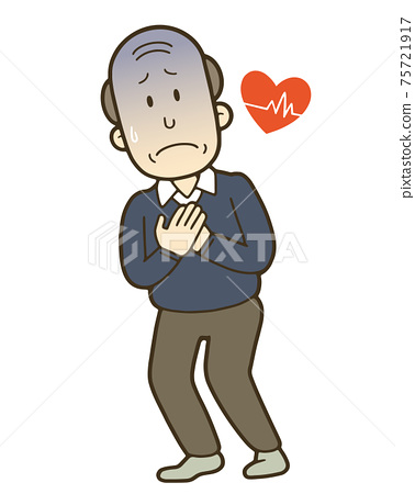Illustration of a senior man holding his chest painfully 75721917
