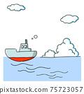 一艘船和入口雲的插圖 75723057