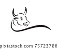 Vector of a bull head design on white background. Wild Animals. Easy editable layered vector illustration. 75723786