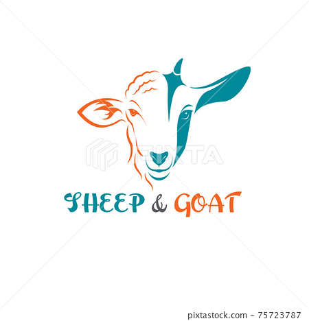 Vector of sheep face and goat face on a white background. Animals farm. Easy editable layered vector illustration. 75723787
