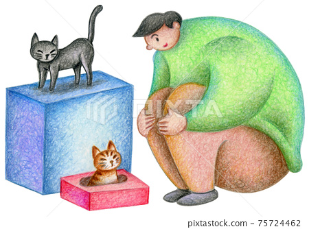 Men playing with cats 75724462