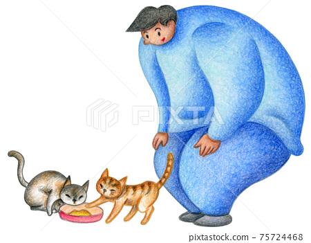 一個男人餵貓 75724468