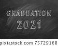 Graduation 2021. Lettering in a school blackboard 75729168