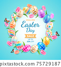Happy easter day easter eggs colorful different and patterns texture with tulips flower and butterfly on blue color background. Vector illustrations. 75729187
