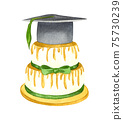 Watercolor cake to celeberate successful graduation from school. Hand drawn graduation cake with hat on top. 75730239