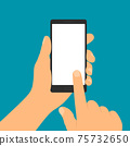 Flat design illustration of hand holding mobile phone with blank white display. Forefinger taps on touch screen, vector 75732650