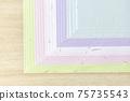 [日本紙的圖像]淺藍色,紫色,白色,粉紅色,黃綠色的日本紙。 75735543