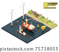 Vector isometric offshore wind farm construction 75738055