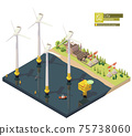 Vector isometric offshore wind farm 75738060