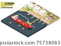 Vector oil depot and oil tanker ship bunkering 75738063