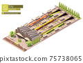 Vector isometric high-speed train station 75738065