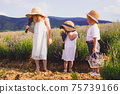 Three adorable kids, brother and two sisters 75739166