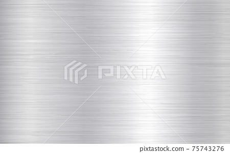 Metal background. Silver steel texture. Brushed stainless sheet. Bright polish plate with reflection. Realistic industrial texture. Aluminum panel. Vector illustration 75743276