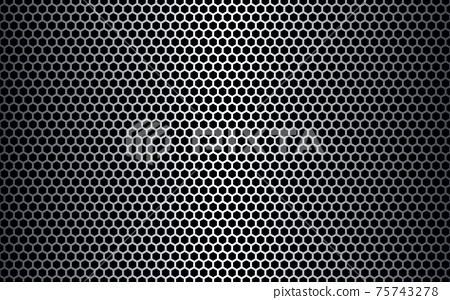Metal hexagon texture. Steel honeycomb background. Futuristic metal mesh. Light perforated sheet. Industrial hexagonal backdrop. Modern steel construction. Vector illustration 75743278